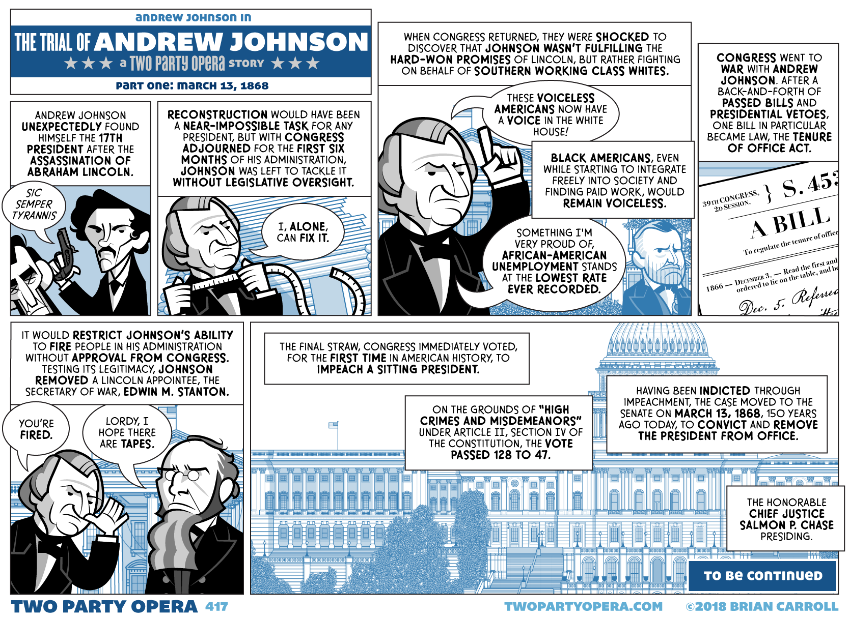 The Trial of Andrew Johnson – Part One: March 13, 1868